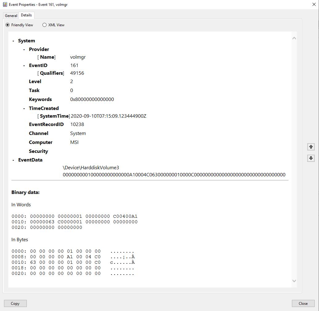 BSOD - volmgr 161, then Kernel-Power 41 032804b9-6989-4f05-abd8-391c05678db6?upload=true.png