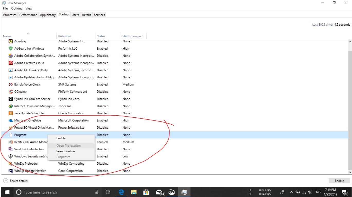 "What is the Program ""program"" showing up in Windows 10 Task Manager Startup tab? 05bed14c-2dda-4dfd-862f-2761e6881fe5?upload=true.jpg"