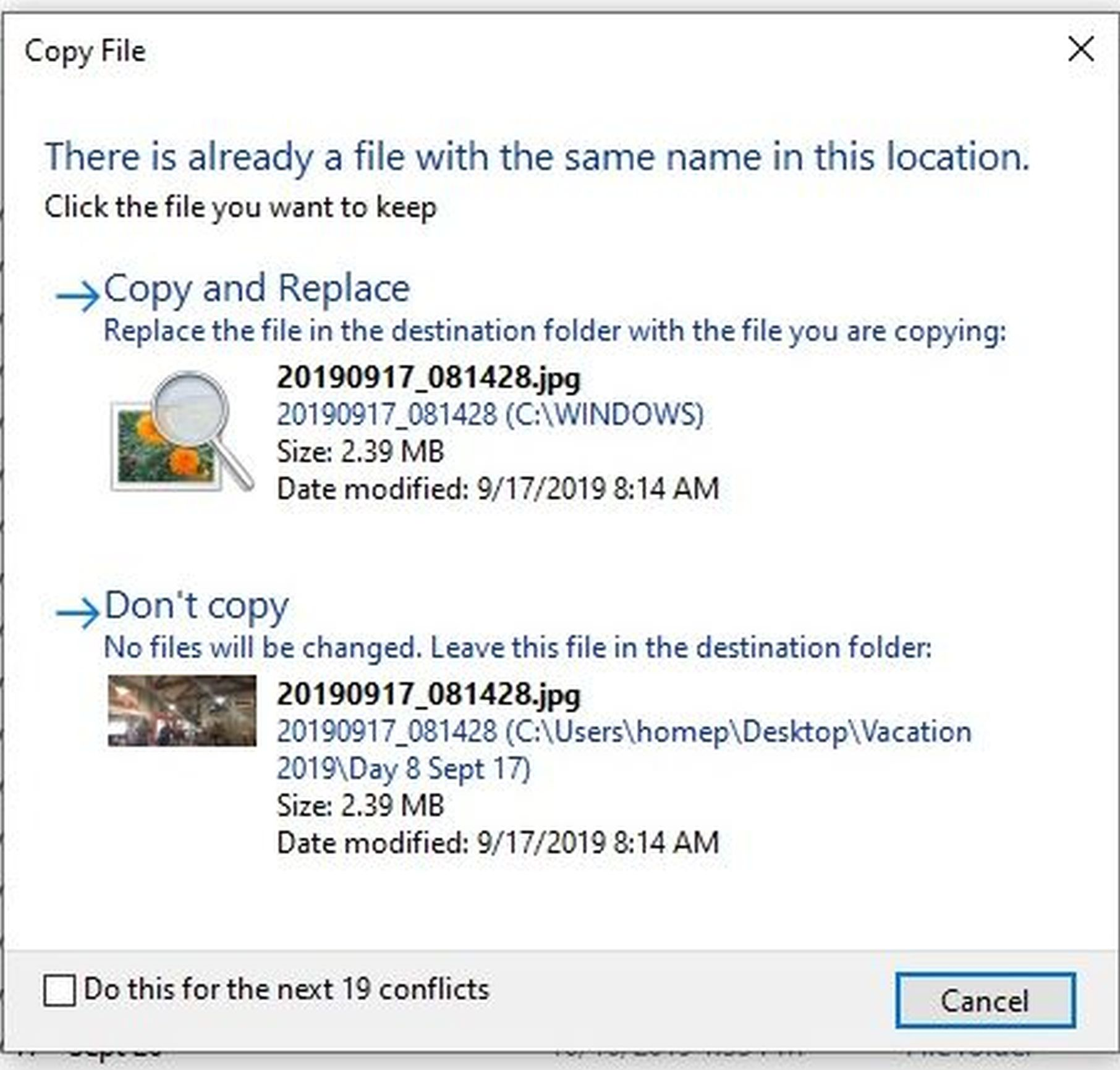Compare Files Option Is Missing In My Win 10 for copying files w same name??? 05d674b5-87fe-46f5-a893-3f8639c1ff4e?upload=true.jpg