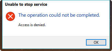 Unable to stop service