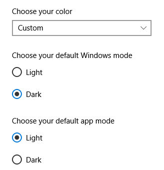 Light, dark and custom options don't show under Settings / Start / Personalization / Colors 0ae6eea2-850f-48f5-959a-3420c036e628?upload=true.png