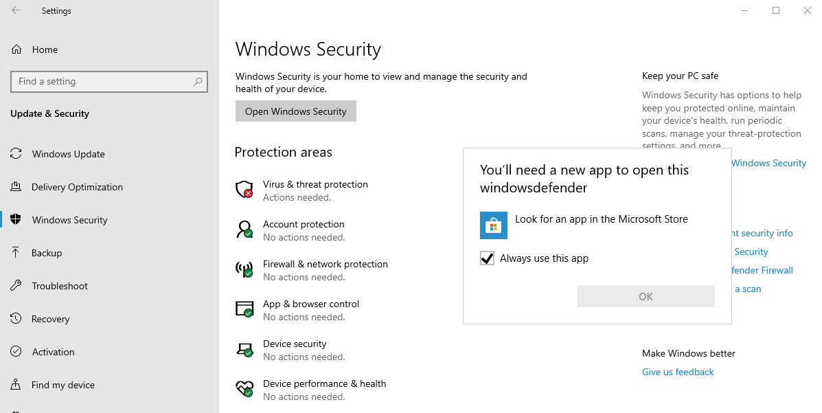 "Windows Security Dashboard issue: ""You'll need a new app to open this windowsdefender link"" 0ba892a9-b51f-4716-8047-f10c6ffeeaab?upload=true.png"