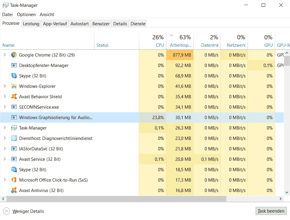 Windows 10 Audio Device Graph Isolation causes high CPU