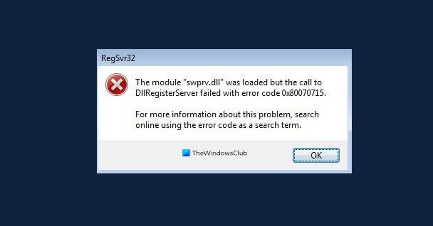 Fix DLLRegisterserver failed with error code 0x80070715 in Windows 10 0x80070715.jpg