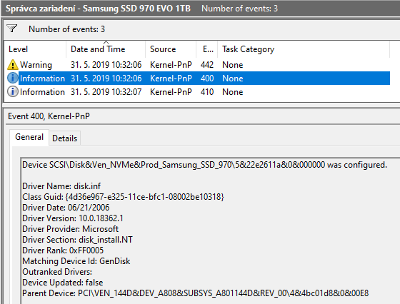 Samsung SSD 970 EVO not migrated after Win10 May 2019 update