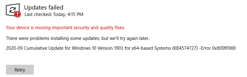I cannot download a new Window's 10 update. I have tried a lot of tactics but I can't seem... 13b3c53a-d3b7-428e-bce1-a0d751bfb2b1?upload=true.png