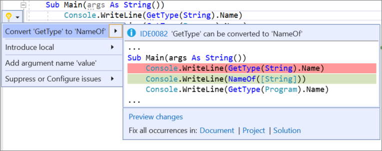 Visual Studio 2019 v16.8 Preview 2 Releases New Features 16.8_P2ConvertGetType.png