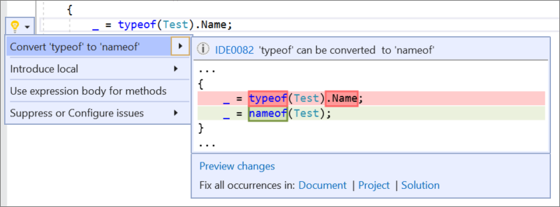 Visual Studio 2019 v16.8 Preview 2 Releases New Features 16.8_P2ConvertTypeOf1.png