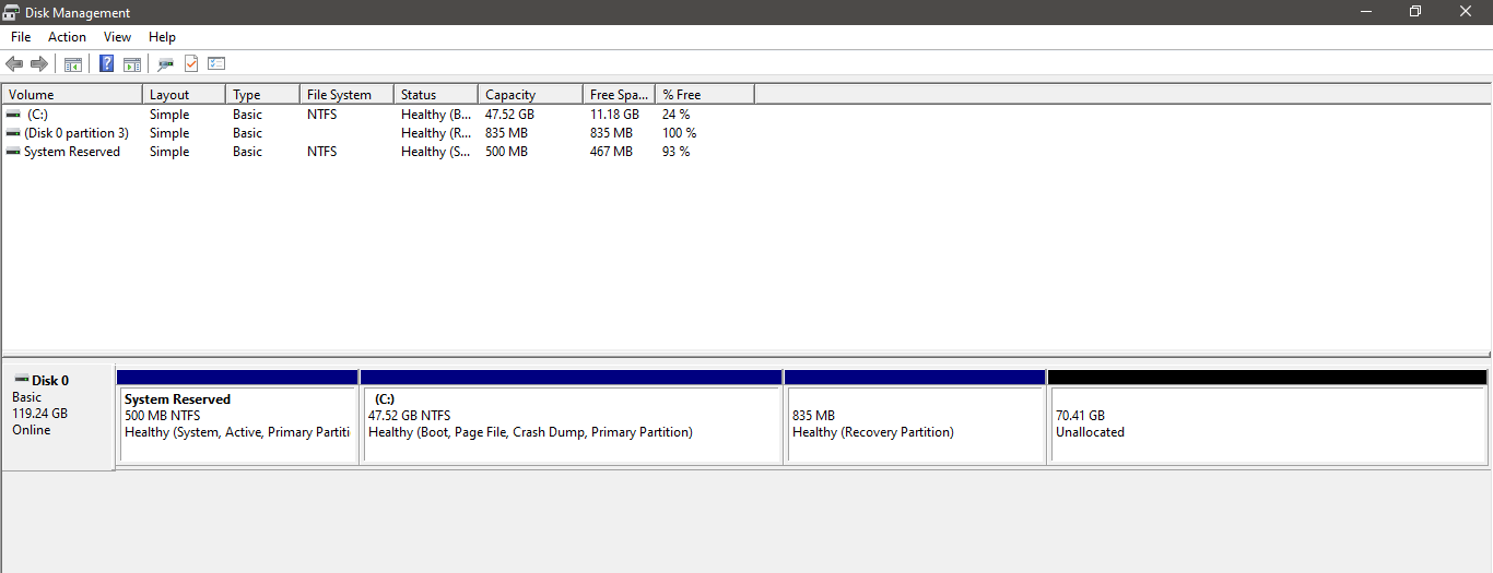 Healthy EFI Sytem Partition and Healthy Recovery partition next to my C drive -  Unable to... 163293c6-9c1a-45a9-a304-646727e892db?upload=true.png