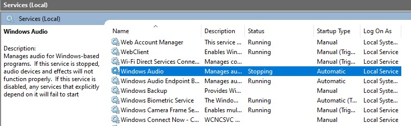 "Windows Audio Service went into ""stopping"" process - will not complete or allow restart. 1862e19f-fd6e-4513-9e7d-61947db1ea20?upload=true.jpg"