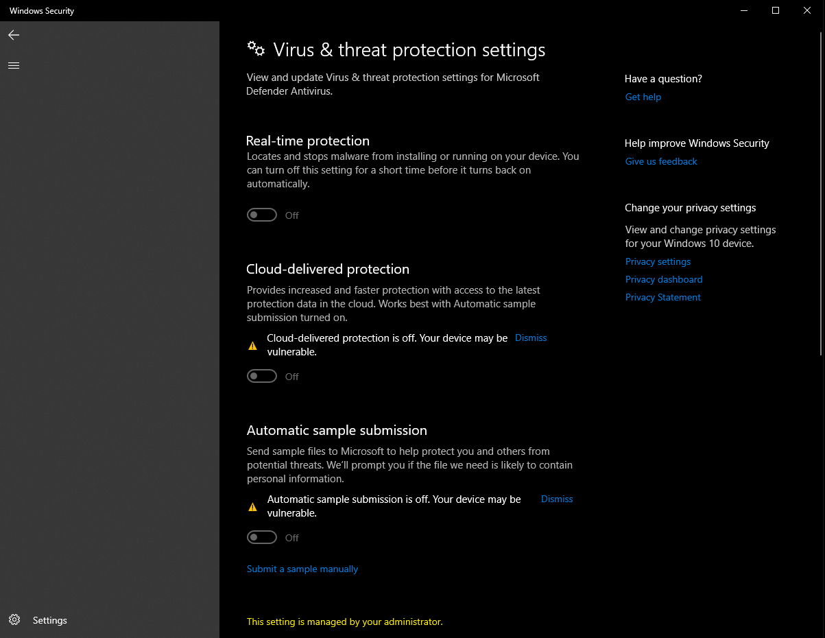 Can't enable the Virus & threat protection settings this setting is managed by your... 1914083c-0963-40d5-83cd-cd269e94ac90?upload=true.png