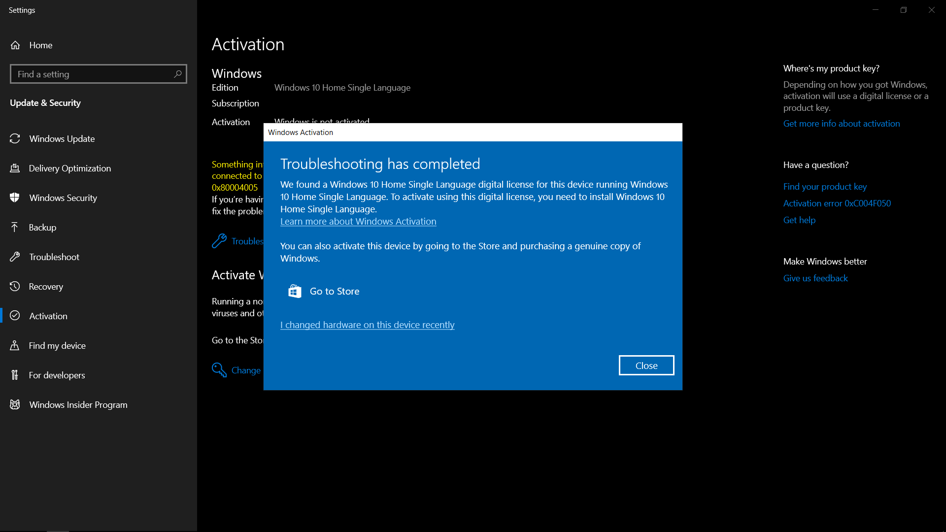 not able to reinstall windows 10 home single language after