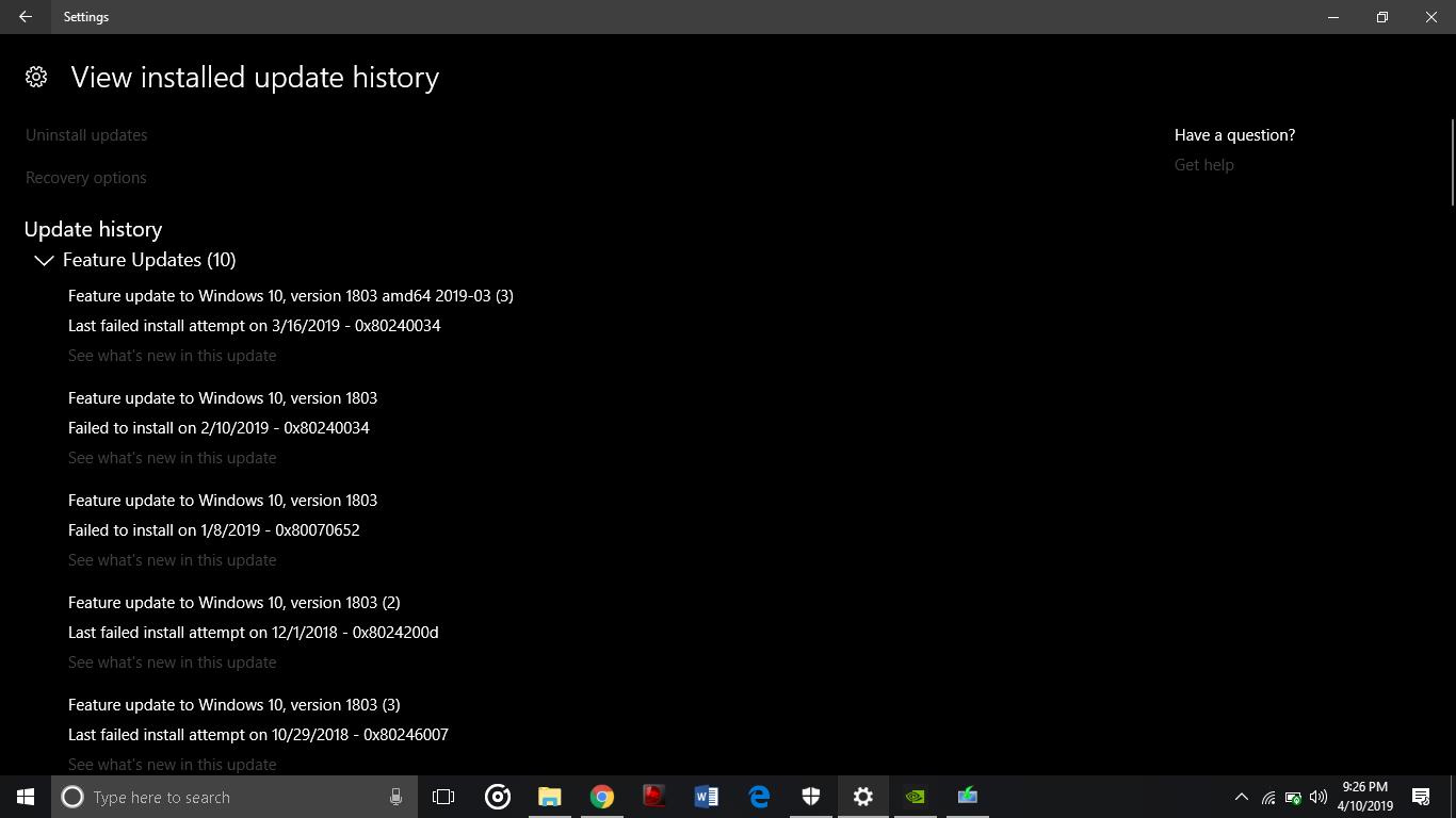 Windows Installation Update Always Fail!