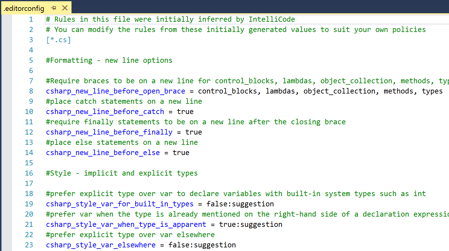 Visual Studio IntelliCode supports more languages and learns from code 2018.05.07.AnnouncingVisualStudioIntelliCode-Screenshot2AutoEditorConfig.png