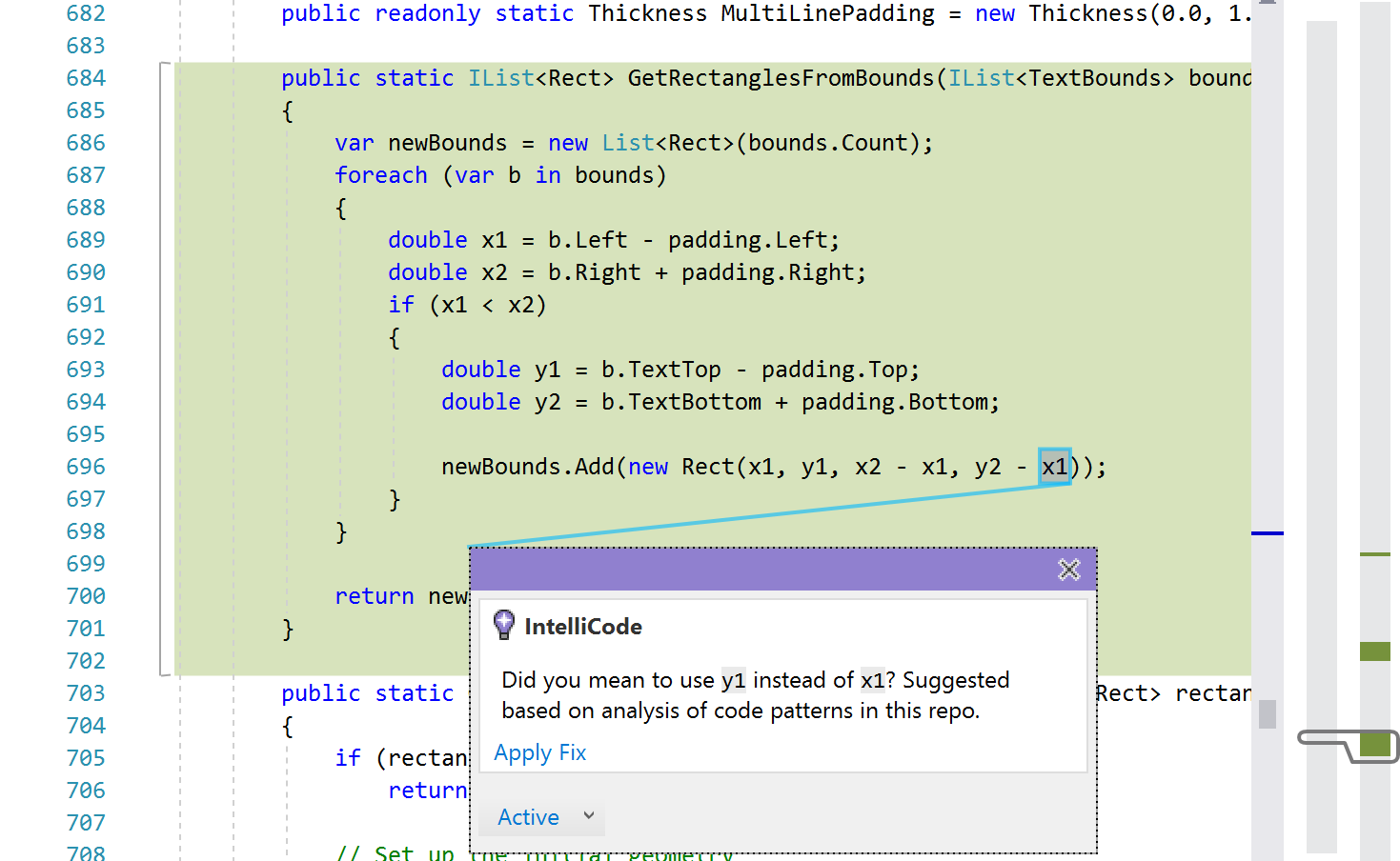Visual Studio IntelliCode supports more languages and learns from code 2018.05.07.AnnouncingVisualStudioIntelliCode-Screenshot3VarMisuseInIDE.png