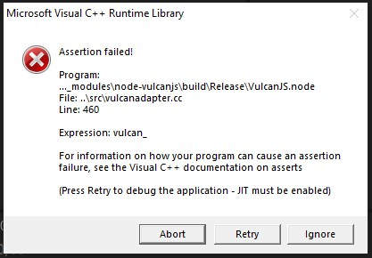 Assertion failed! (microsoft Visual C++ Runtime Library) line 460 || expresssion : vulcan_ 215c9d9c-5b2a-4eaa-95df-70e5c0b0b08a?upload=true.jpg