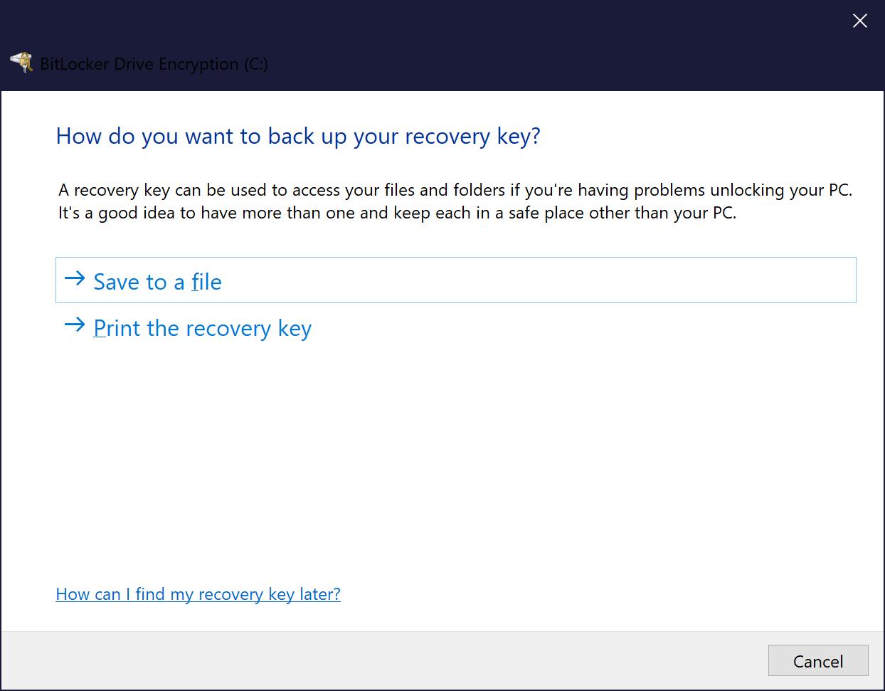 No option to save BitLocker recovery key to Microsoft account 26b44c91-b661-41b1-998f-f12ce3056bc2?upload=true.png