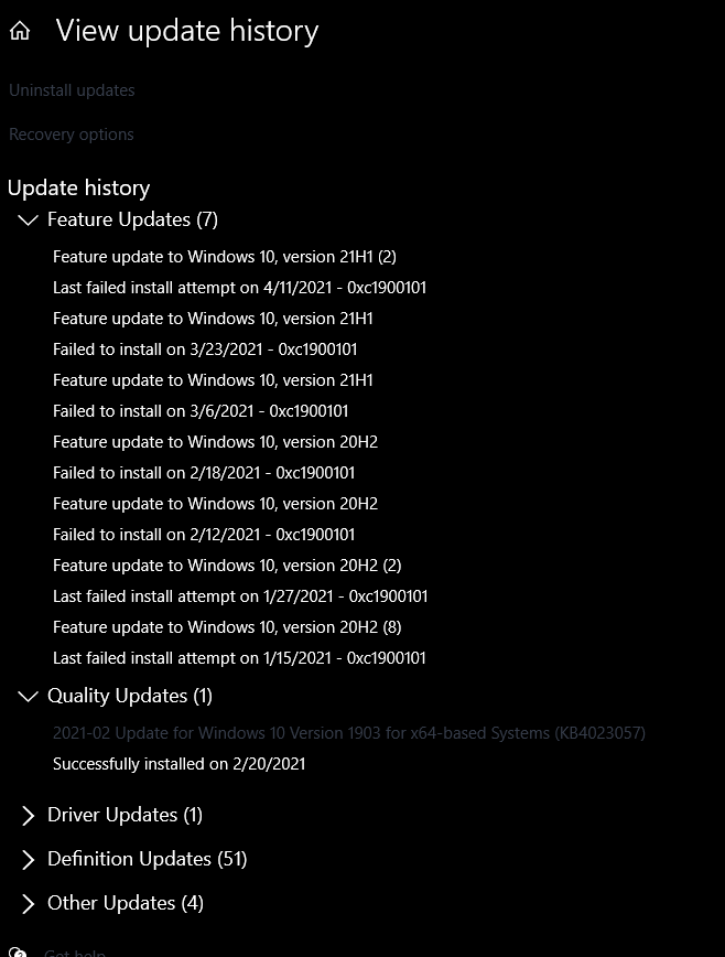 I haven't been able to upgrade Windows in 6 months. 20H2 and now 21H1 consistently fail... 26ffe961-0547-4d3c-a9db-55ec450d03aa?upload=true.png