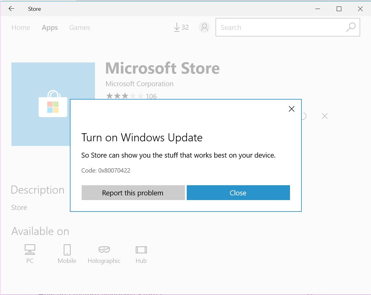 CANT DOWNLOAD APP FROM WINDOWS 10 STORE/ Code: 0x80070422 272831bc-6471-4787-b8c6-b78ee9497264?upload=true.jpg