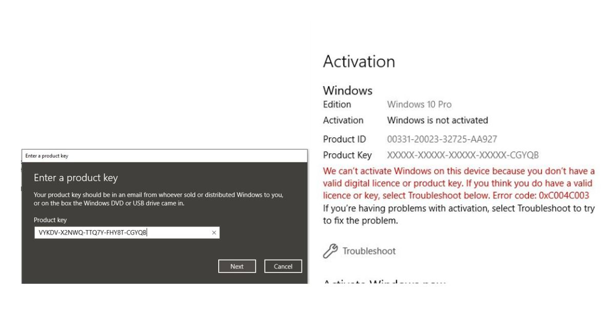 windows activation key error 0xc004c003