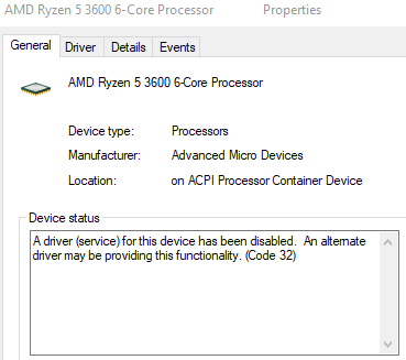 AMD Ryzen 5 3600 Code 32 2991ee11-1dab-41da-bc06-f3d50306d4a9?upload=true.png