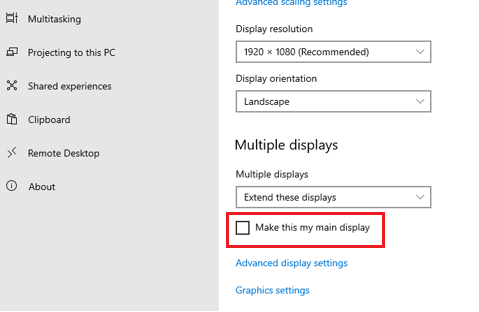 tell windows 10 which is the primary monitor. 2aee1086-e3a9-454e-96b5-5fc599d2efbc?upload=true.png