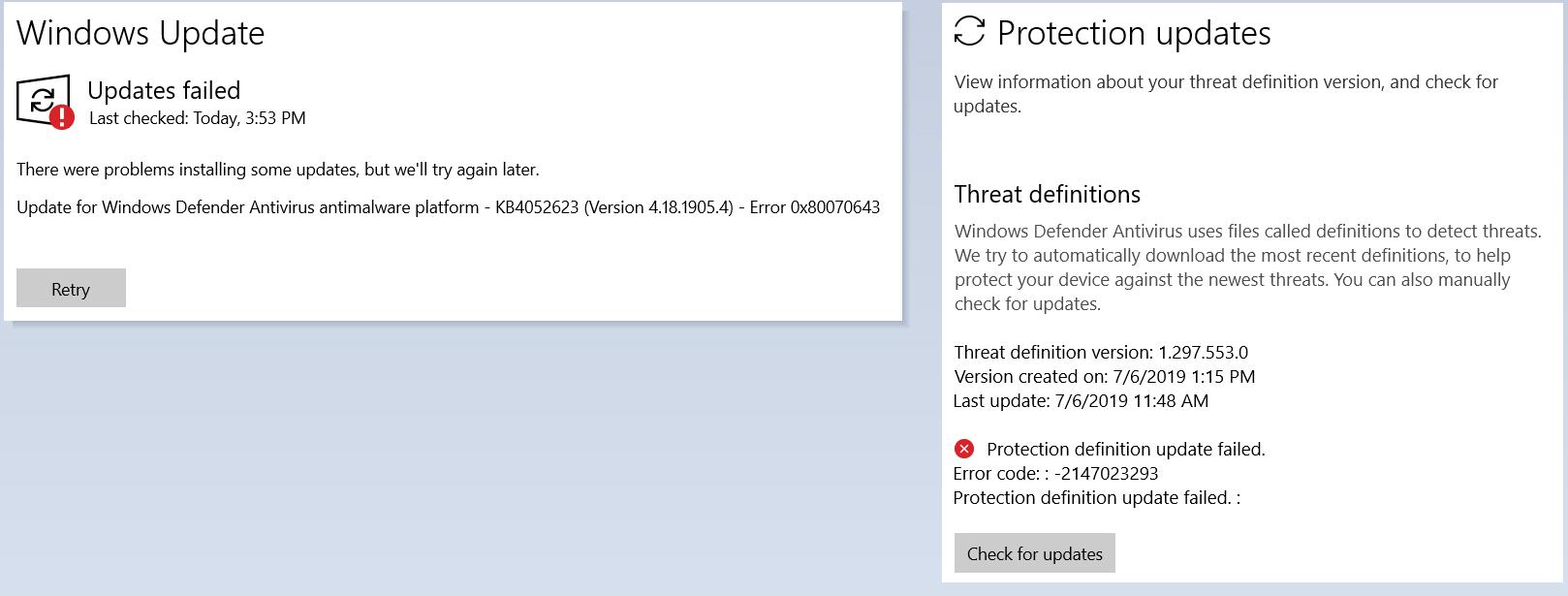 Windows Defender KB4052623 (Version 4.18.1905.4) repeated installation fail with Error... 2f4e848b-6e05-40c2-93e8-29bdff9310be?upload=true.png