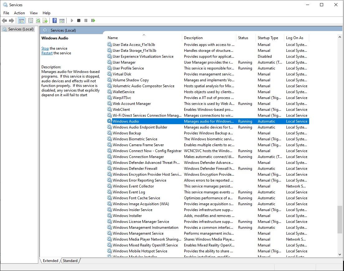 W10 misreporting Audio Service not running 2fbb5ca4-35a9-4e0f-aca3-0f72d37557b1?upload=true.jpg