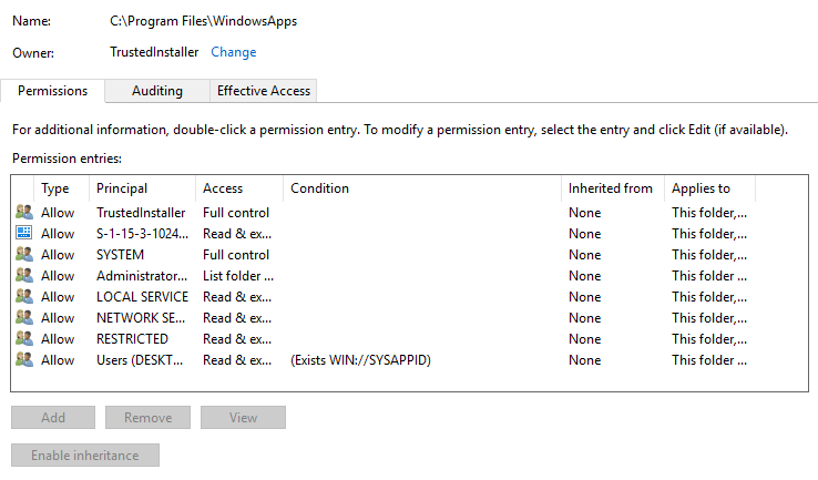 How to restore WindowsApps security permissions 3142cd07-5144-459e-a3ba-7408a81e2e71?upload=true.png