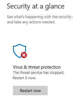 Virus \u0026 threat protection has stopped\