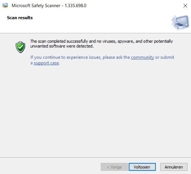 Microsoft Savety Scanner says first 9 infected files and ends with no infected files. 3499490c-2669-4d00-9ceb-7999703910f9?upload=true.jpg