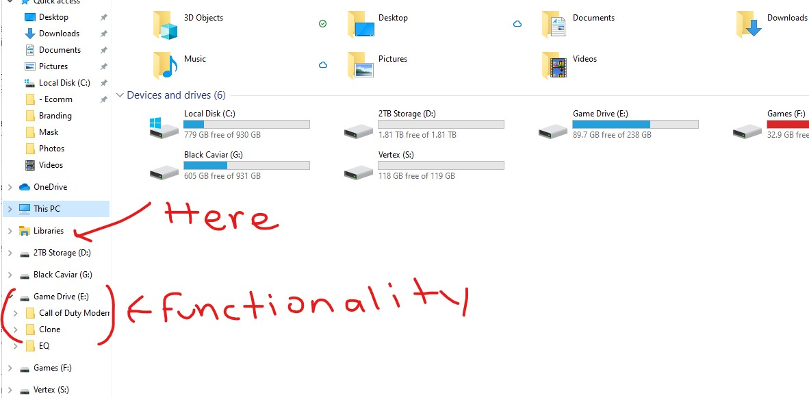 """Show local disk C: as """"expandable and collapsible"""" On navigation pane in file explorer in... 3579a04b-62d1-481a-8685-e32074fc7cce?upload=true.jpg"""