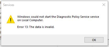 Diagnostic Policy Service not running - Error 13: The data is invalid [Windows 10] 374331d7-48db-4611-bfb1-386278492ce6?upload=true.jpg