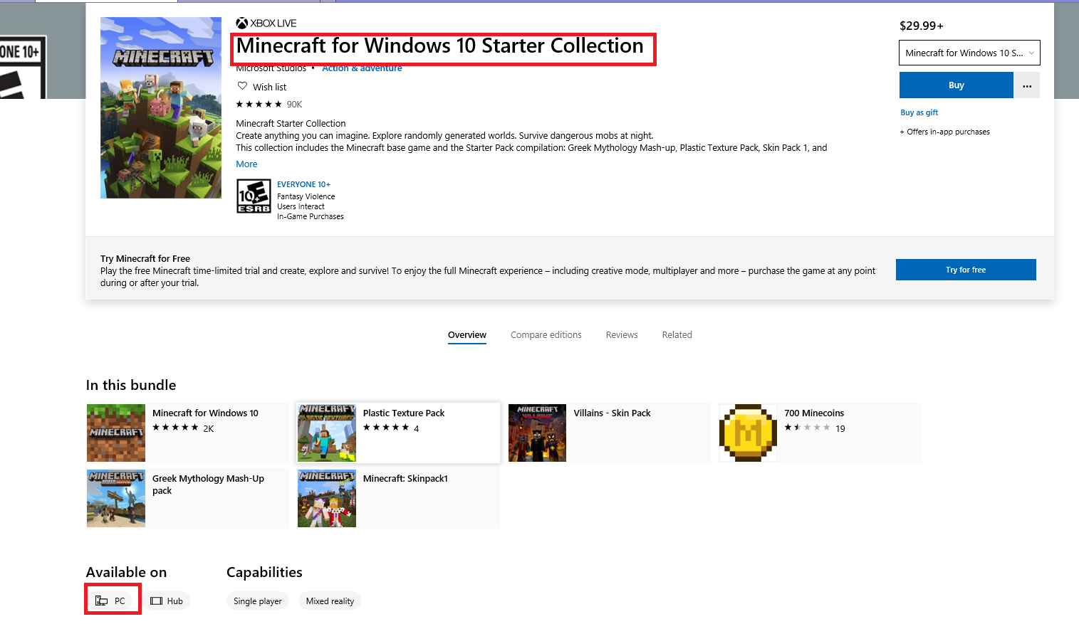 Windows 10 Minecraft starter collection shows I can install on pc but nothing happening... 3786f464-ee7e-4458-88e7-56128929293b?upload=true.png