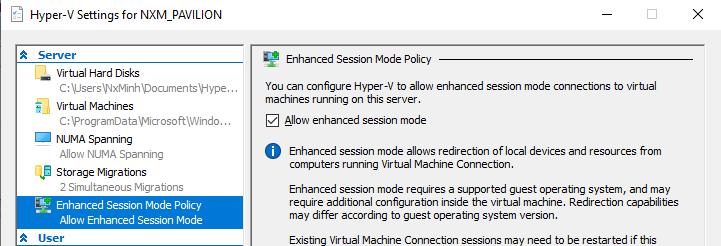 Hyper-V's enhance session does not work. 38d8b58e-64a5-4cd7-a25c-a205694e2042?upload=true.png