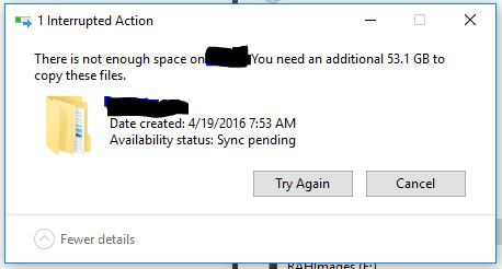 Can't copy files from my local Onedrive folder to external