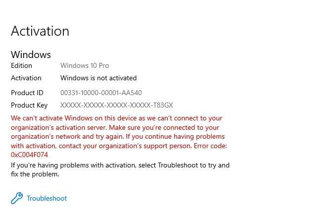 Windows 10 is not activate