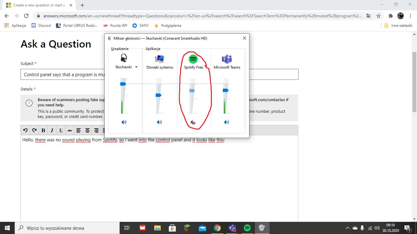 Control panel says that a program is muted. 3c8c7f34-dcad-4f6a-bcde-28ec8fbc1d46?upload=true.png