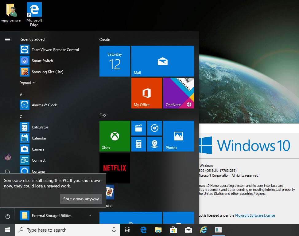 Windows 10 latest version 1809 shutdown problem , without signin another account it shows... 3f843a53-cc07-43d4-ba20-638da4319d55?upload=true.png
