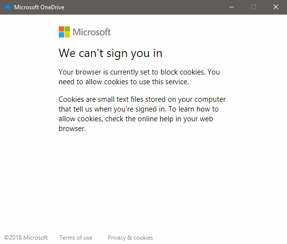Can't log in to Onedrive, says I'm blocking cookies but browser is set to not block... 3ypoG.png