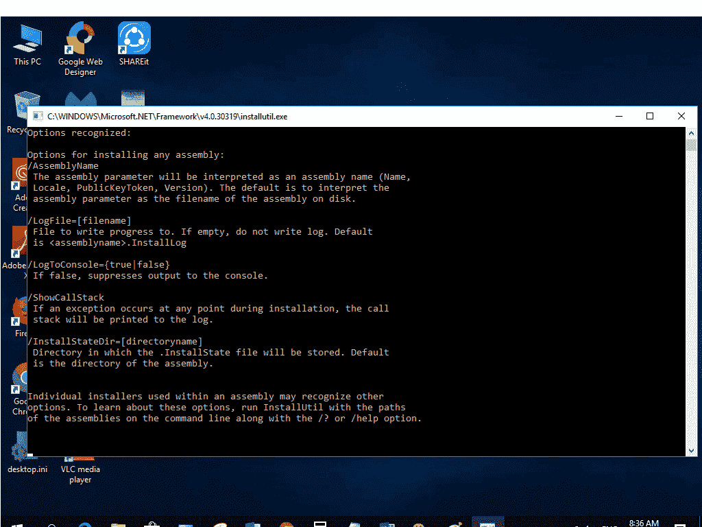 Microsoft .Net framework 220.20.320319 installutil.exe always popup as ...
