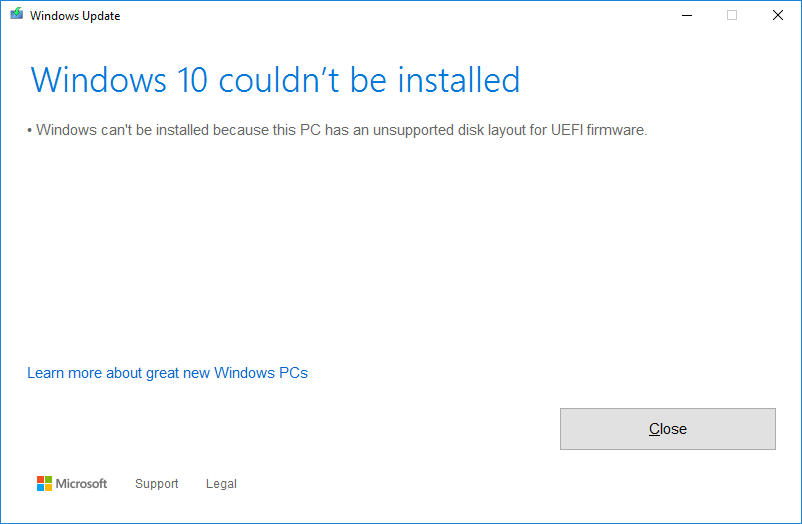 """Cannot Update to Windows v20H2 """"because this PC has an unsupported disk layout for UEFI... 41670992-c5ce-4c23-bdb3-927cf67c29e4?upload=true.png"""