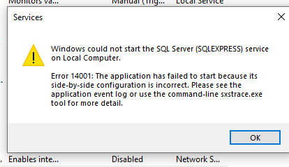 SQLExpress server does not exist or access denied - Windows