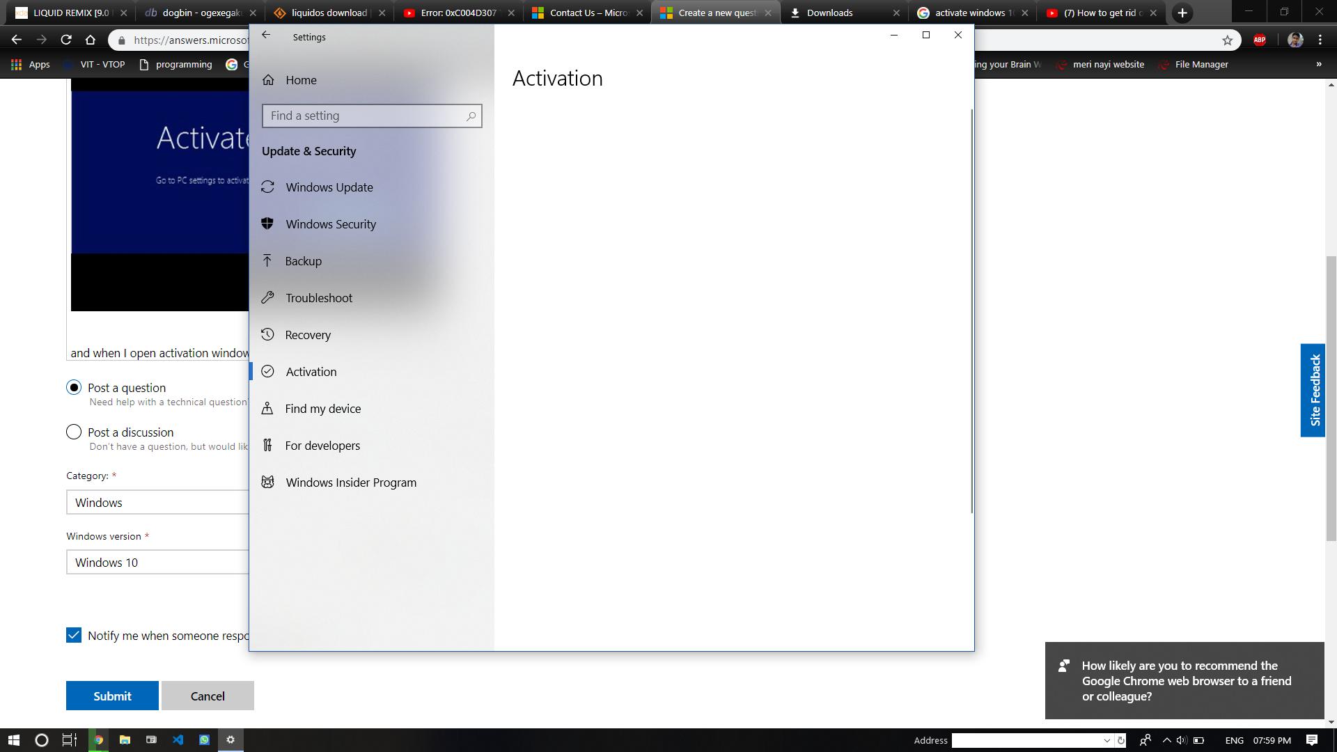 Activate Windows prompt error and Activation window white blank error. 48c9adb3-1cfc-4aa4-85f5-f0c30df9001e?upload=true.png