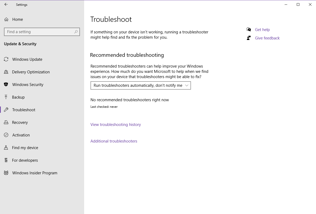 No recommended troubleshooter, last run: never 4cee10f3-4db6-44ad-8a90-42a4e34e4f5e?upload=true.png