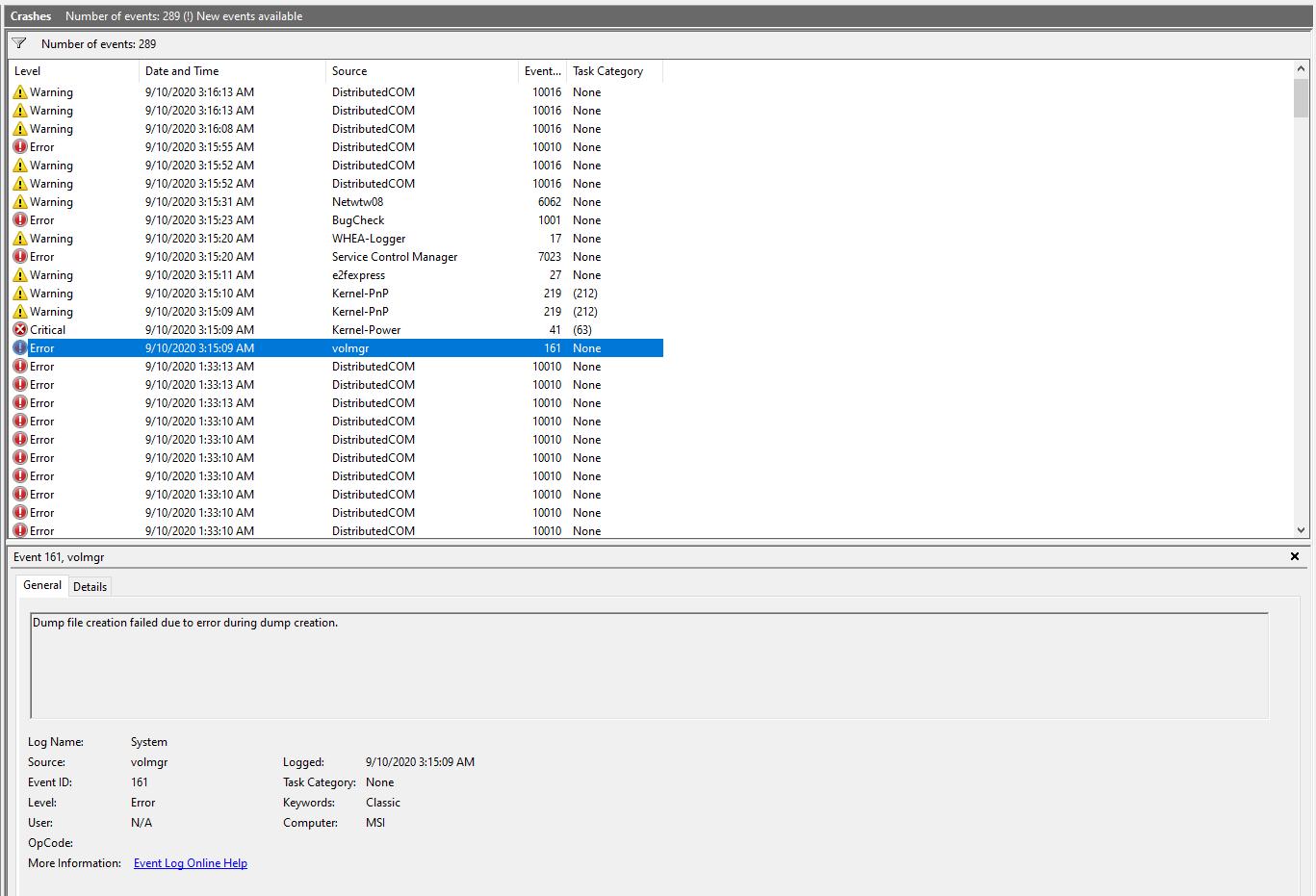 BSOD - volmgr 161, then Kernel-Power 41 51160418-e3df-4287-99e8-fc48b86765b5?upload=true.png