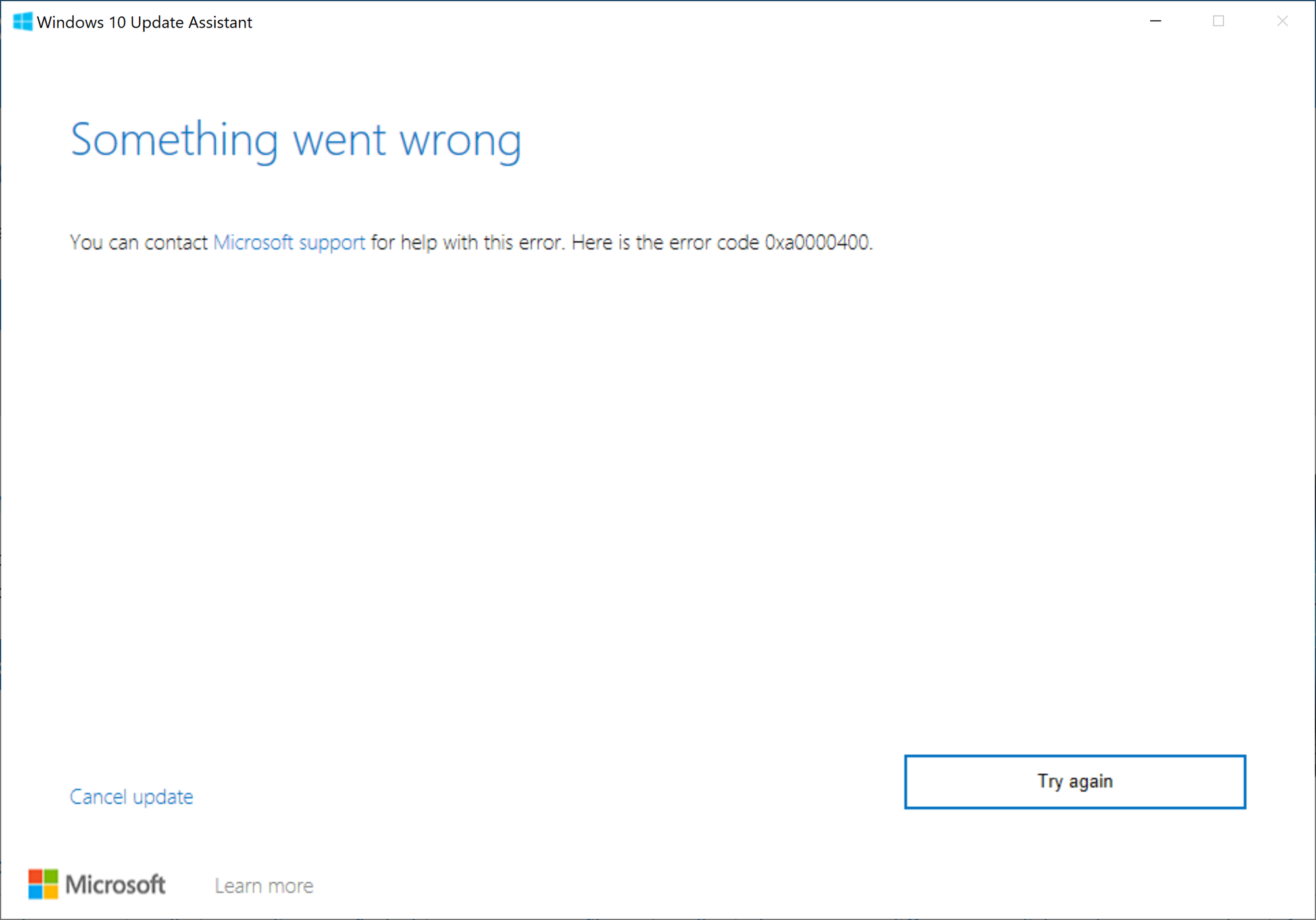 Windows 10 Pro for Workstation update failed with error code 0xa0000400 updating from 1809... 52d352bf-8950-45f0-a5ed-4e608af14cb1?upload=true.png
