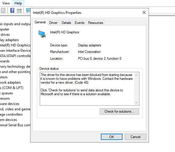 URGENT! - Code 48 blocked Intel HD Graphics Driver After Recent Update