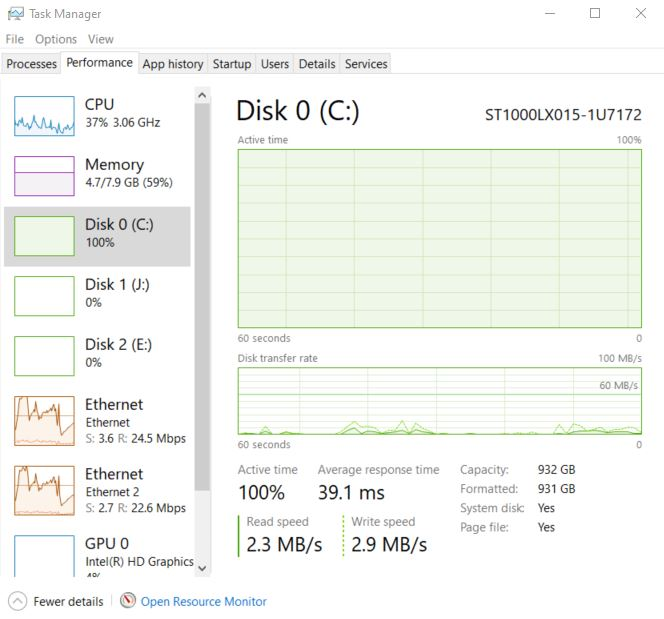 Disk 0 Active time permanently at 100% even with no apps open. 575f83dd-0ee4-4c02-a7f3-c3fae54edafd?upload=true.jpg