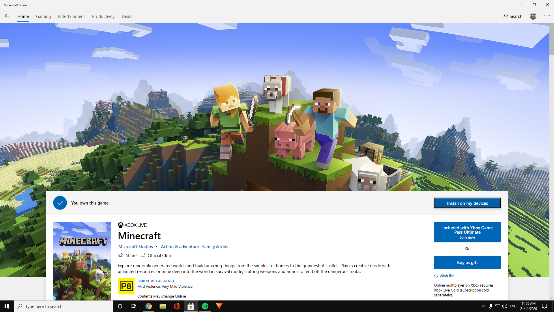 Unable to install Minecraft, although its been owned on my previous Xbox. 582cec1d-74d3-40a1-8603-2af991c43de7?upload=true.png